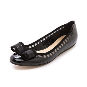 Kate Spade Black Striped Bow Leather Ballet Flats